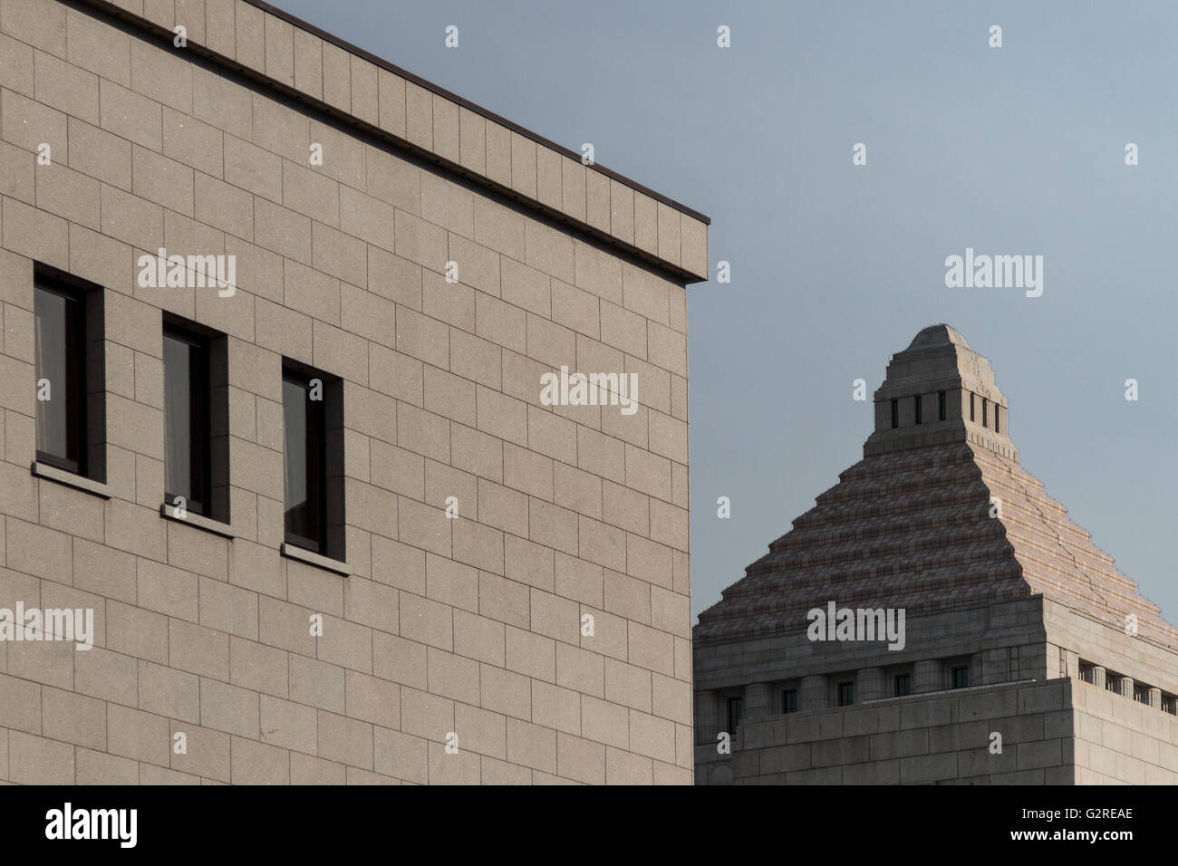 The Japanese Diet (Parliament) building in Nagatacho, Tokyo, Japan. Friday February 5th 2016 - Stock Image