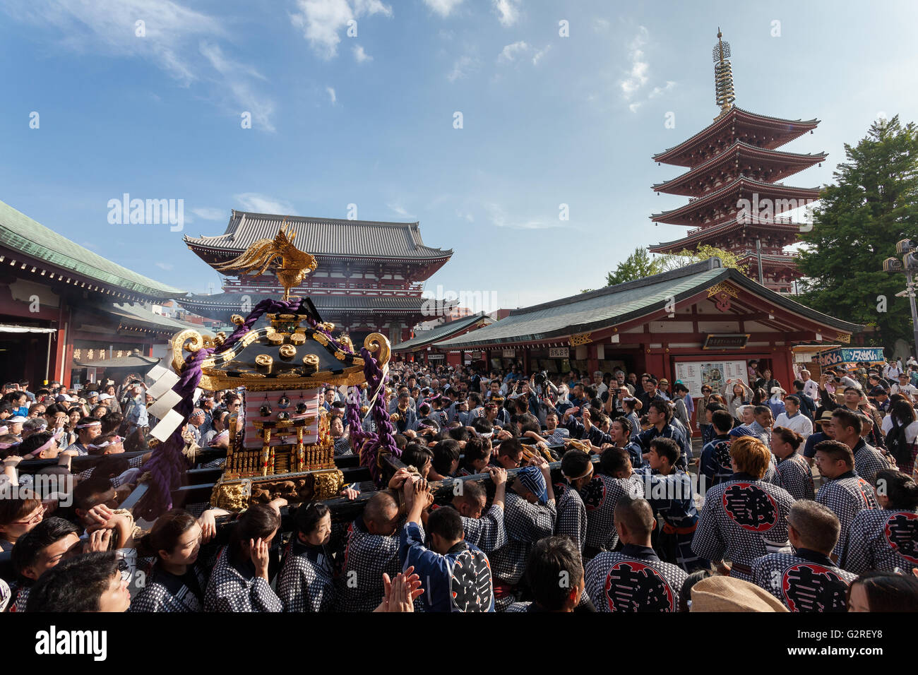 Mikoshi as they are carried in to Senso-ji Temple  during the Sanja matsuri. Asakusa, Tokyo, Japan. Sunday May 15th - Stock Image