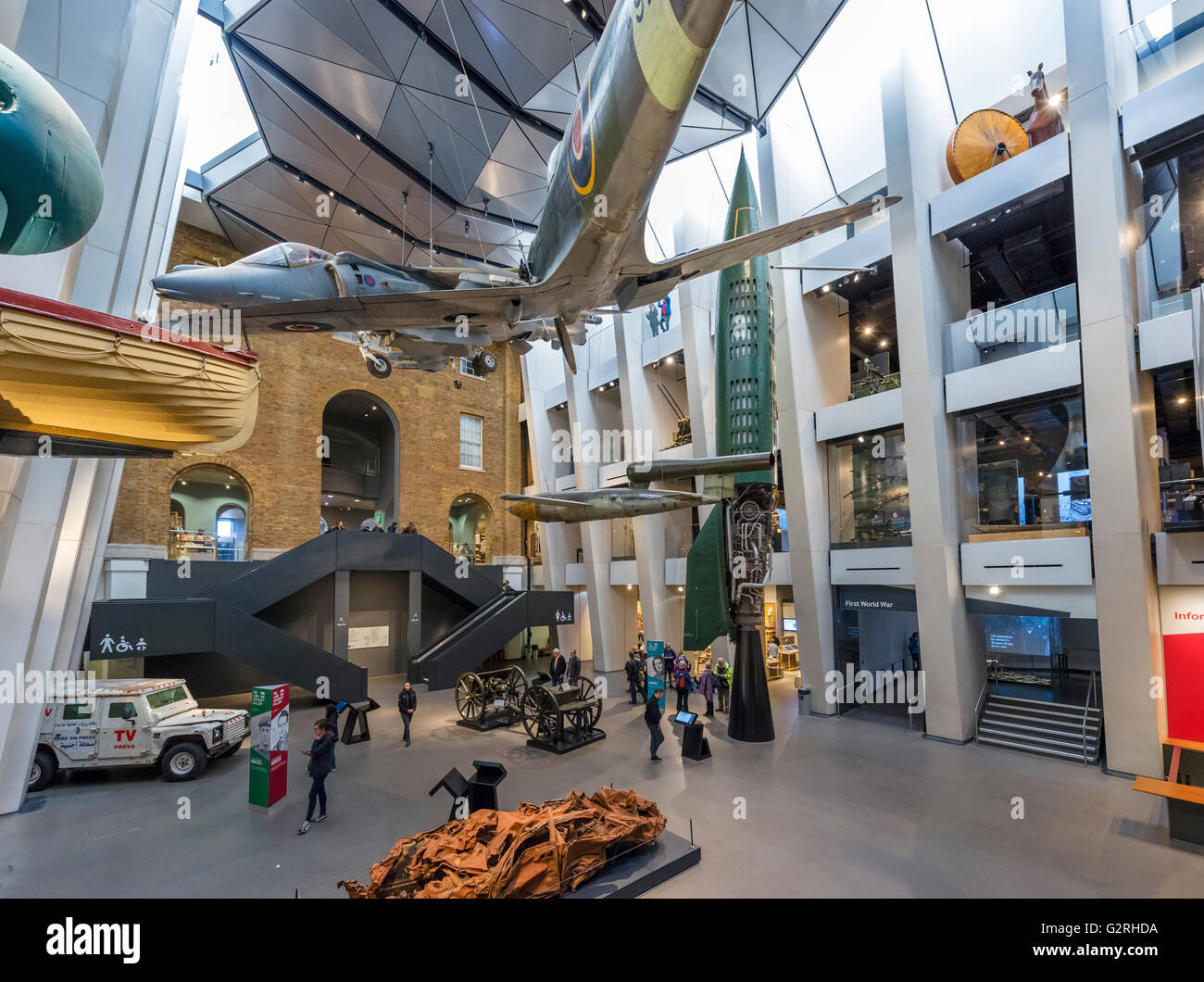 Main exhibition space at the Imperial War Museum, Lambeth, London, England, UK - Stock Image
