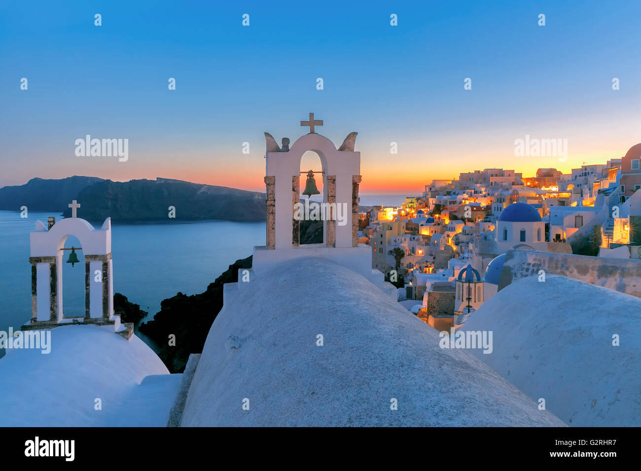 Picturesque view of Oia, Santorini, Greece - Stock Image