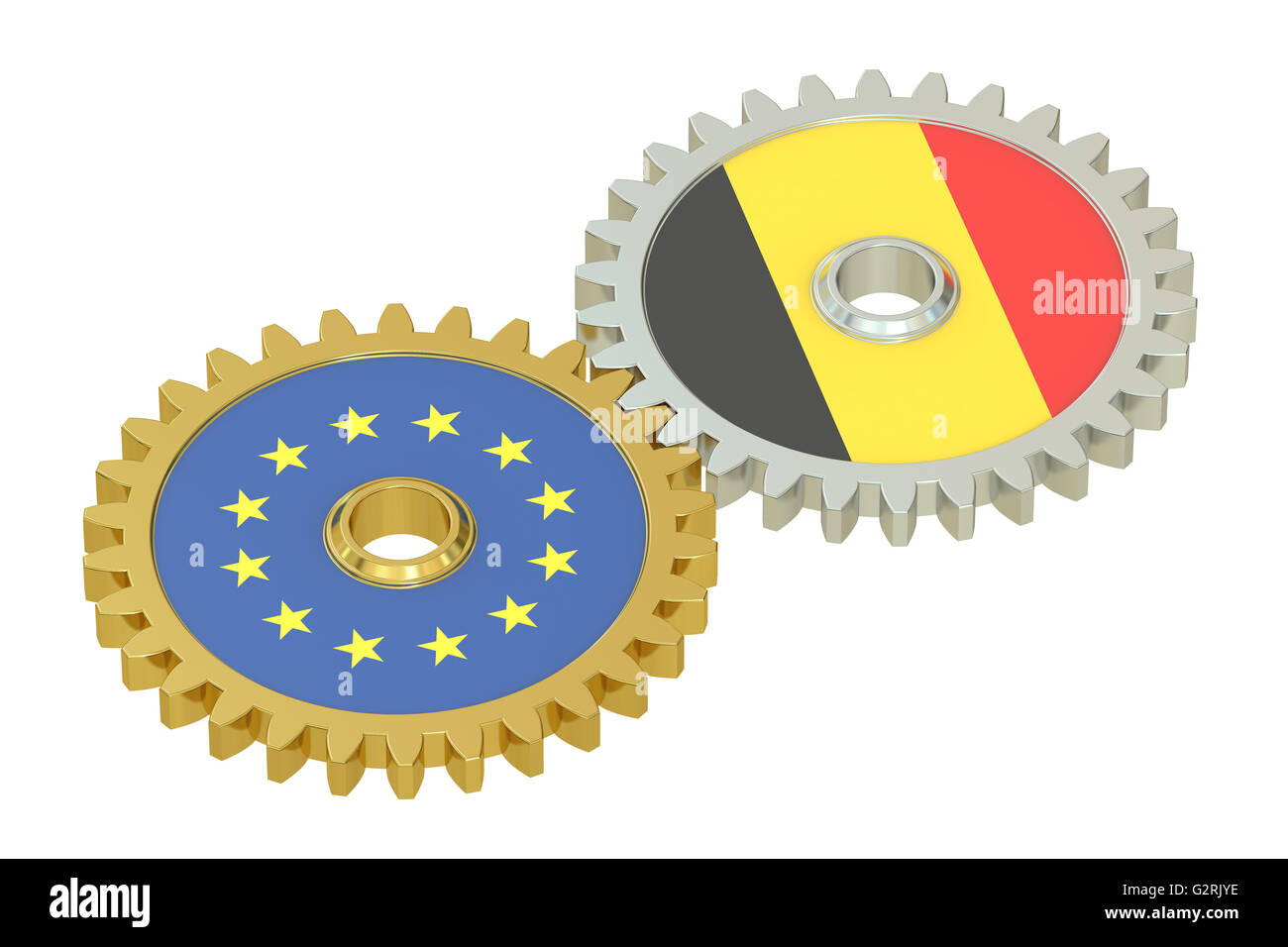 Belgium and EU flags on a gears, 3D rendering isolated on white background - Stock Image