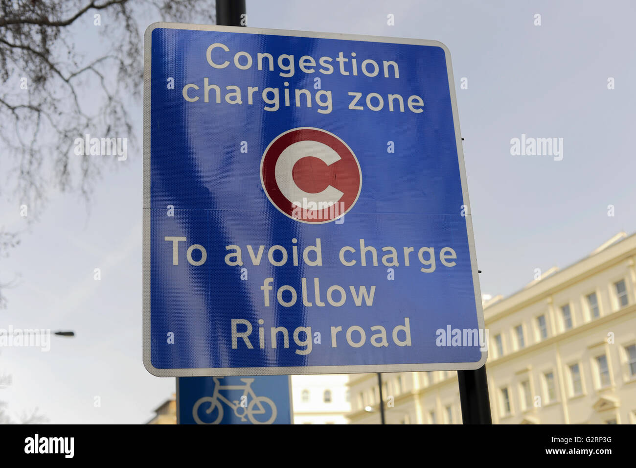 Congestion charging zone sign Pimlico London - Stock Image