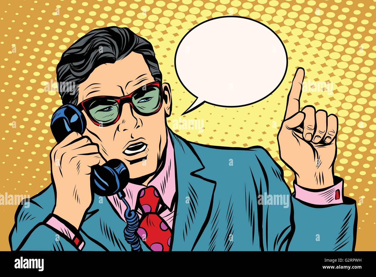 Business boss talking on the phone, Retro background - Stock Vector