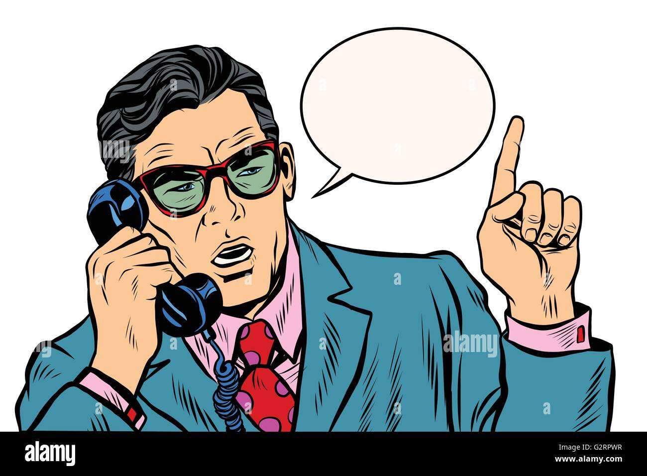 Business boss talking on the phone - Stock Vector