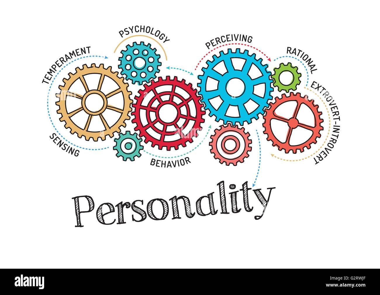 Gears and Personality Mechanism - Stock Image