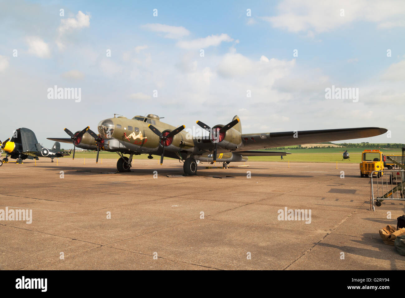 """Boeing B-17 Flying Fortress """" Sally B """" on the ground, Imperial war museum Duxford UK Stock Photo"""