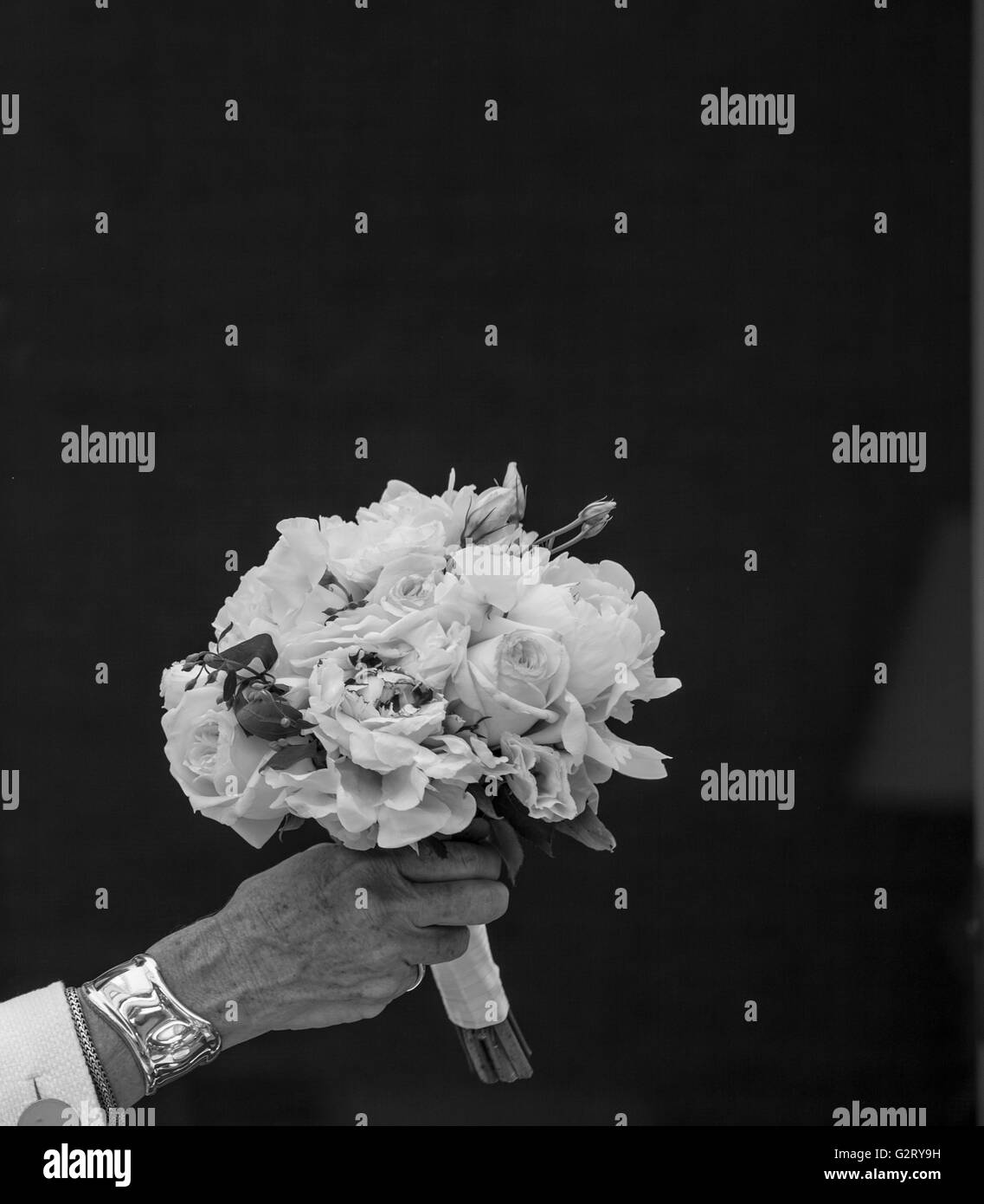 bouquet of fresh cut flowers in black and white held in a woman's hand with a black background - Stock Image