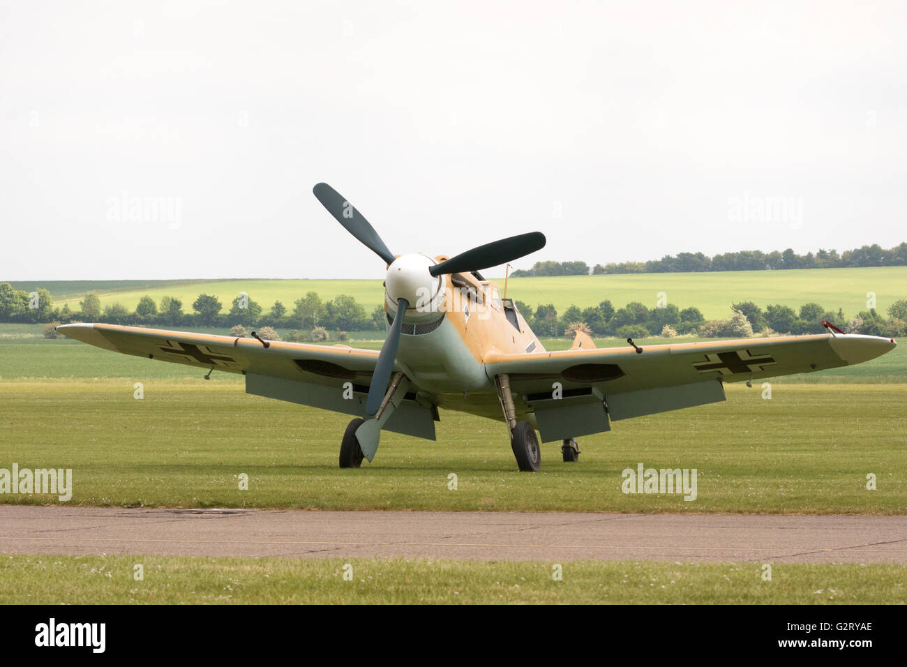 A Hispano HA-1112 Buchon fighter plane on the ground at Duxford Airport, Cambridge UK - Stock Image