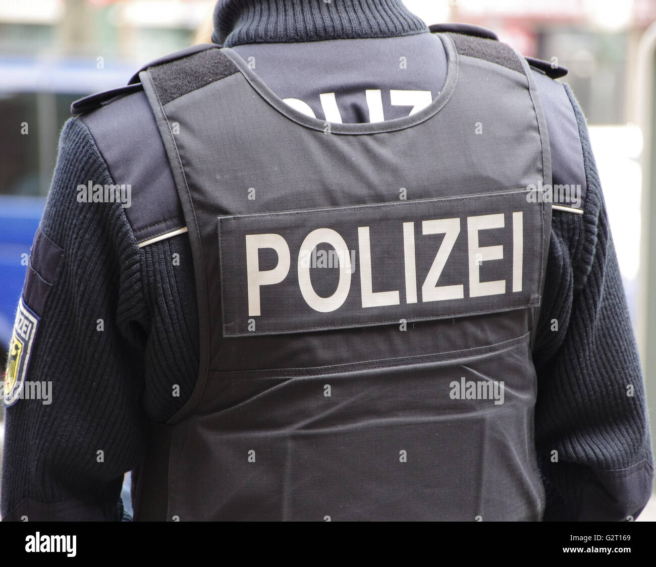 A Police man in Frankfurt am Main railway station. Stock Photo