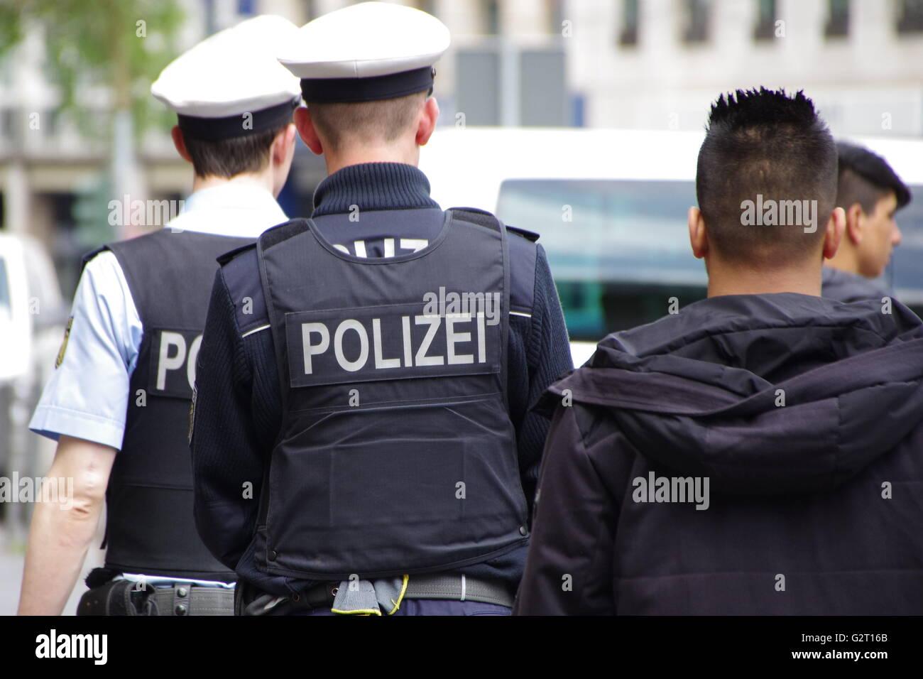 Police men in Frankfurt am Main railway station. Stock Photo