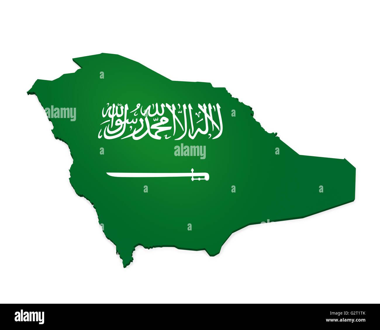 Saudi Arabia Map - Stock Image