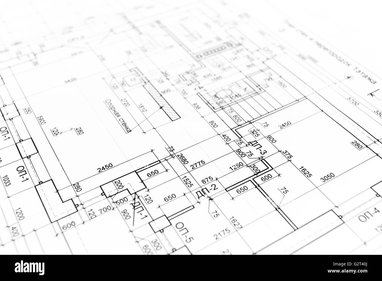 House Building Construction Plan As Background. Blueprints Series.   Stock  Image