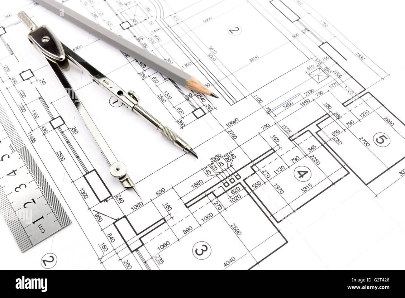 house building construction plans with pencil and drawing compass rh alamy com Construction Framing Diagrams Roof Construction Diagram