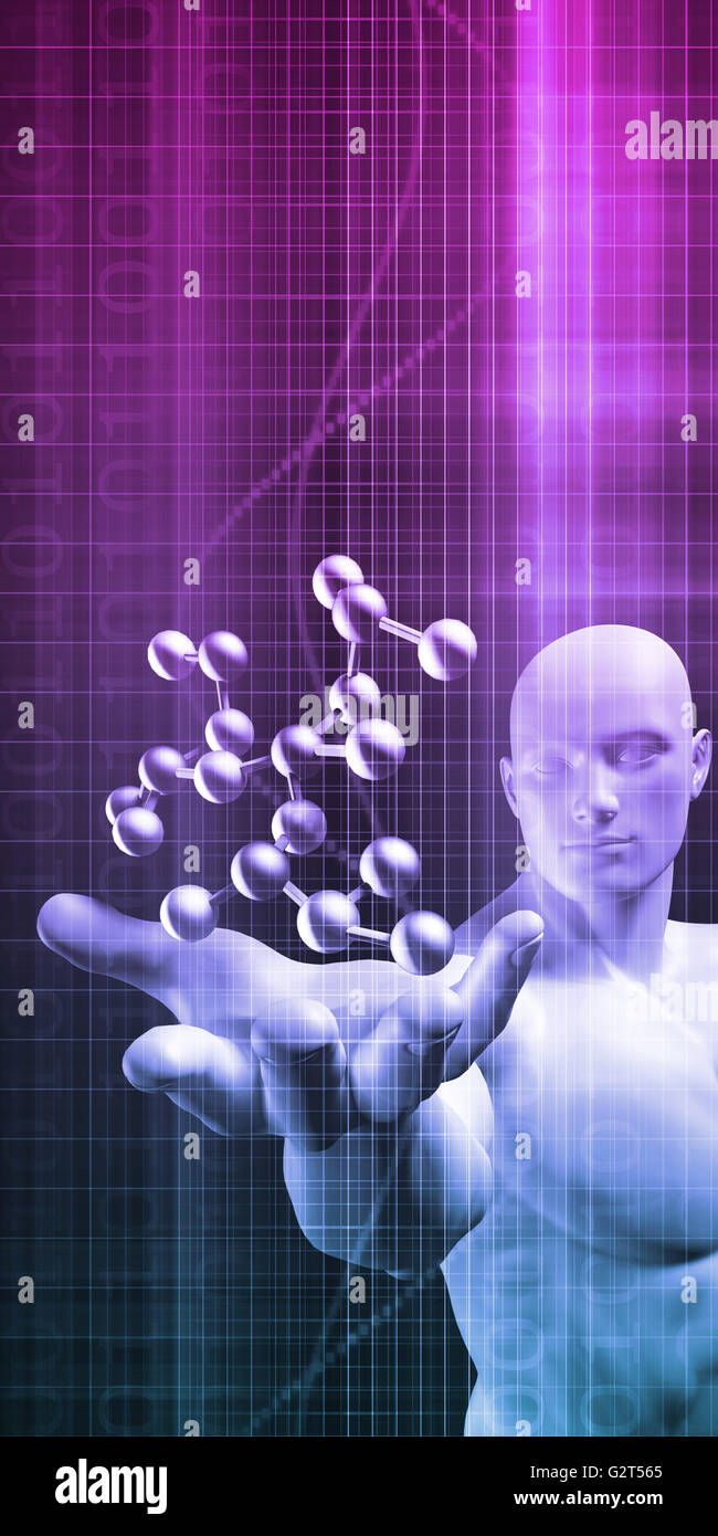 Science Professional Holding Molecule Structure in Hand - Stock Image