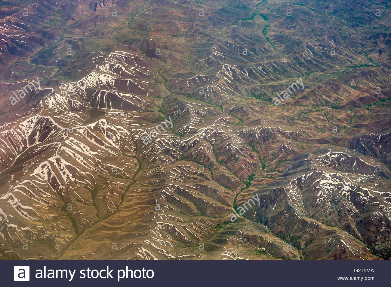 Aerial view of Kashmir mountains, near the border of Pakistan and Afghanistan - Stock Image