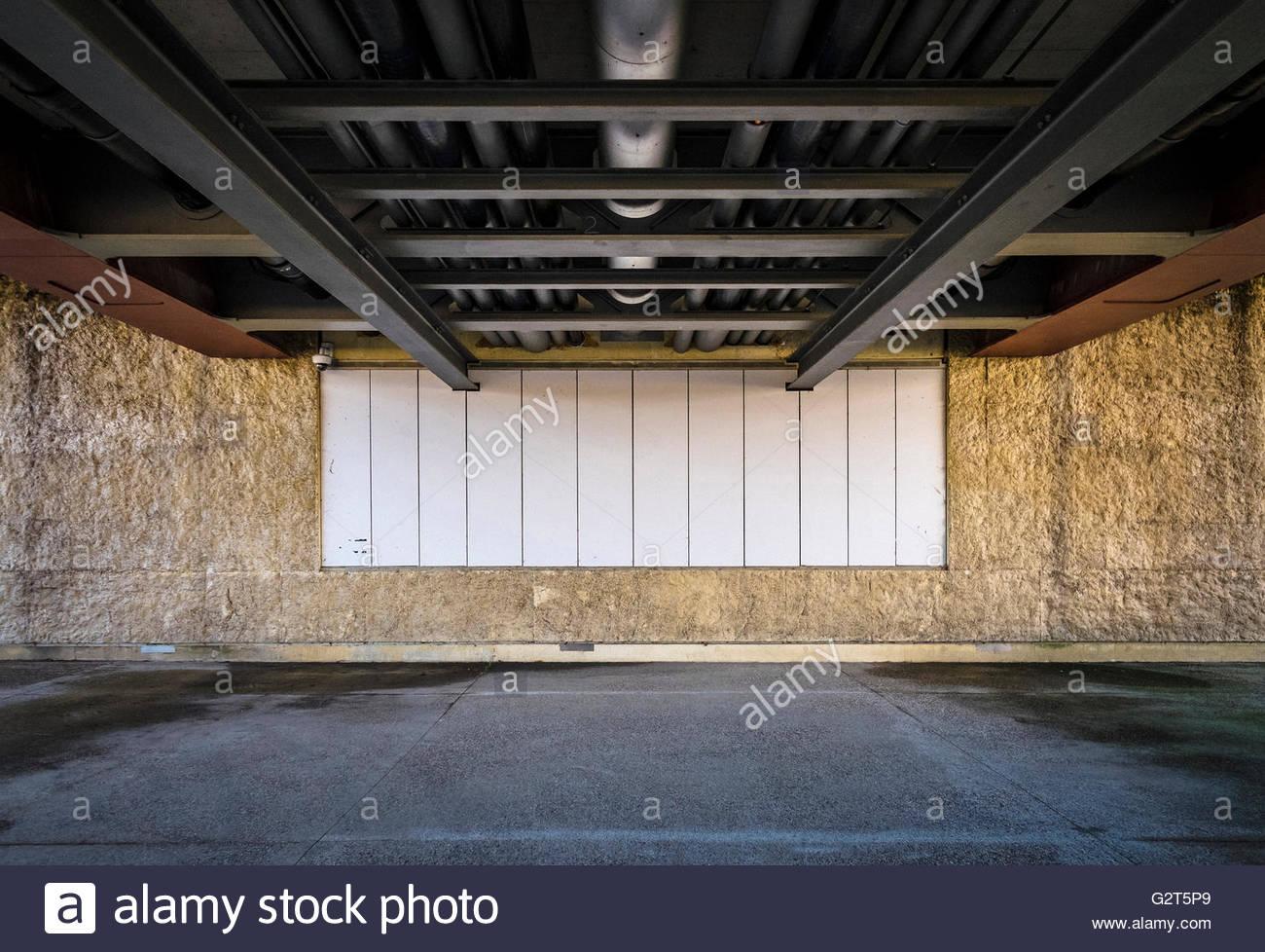 Empty billboard, urban landscape, Reimst, Limburg, Vlaanderen (Flanders), Belgium - Stock Image