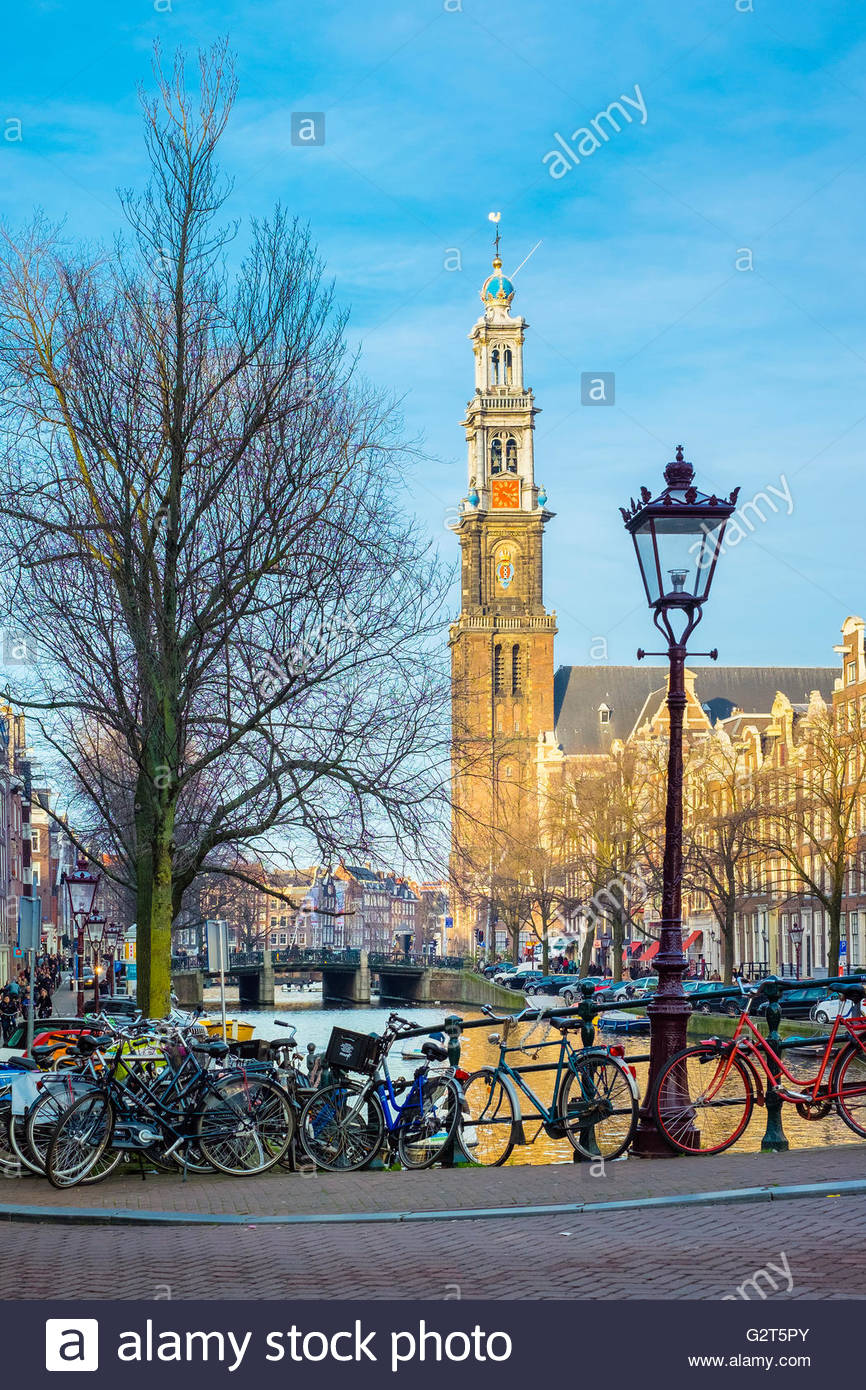 Westerkerk church and Prinsengracht canal, Amsterdam, North Holland, Netherlands - Stock Image