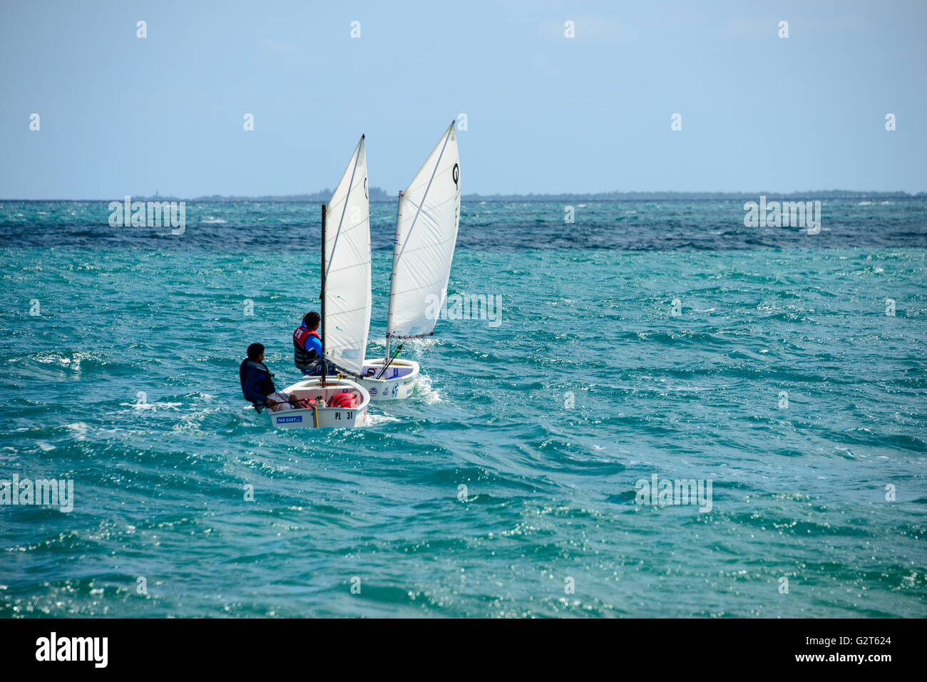 Sailing in Placencia, Belize - Stock Image
