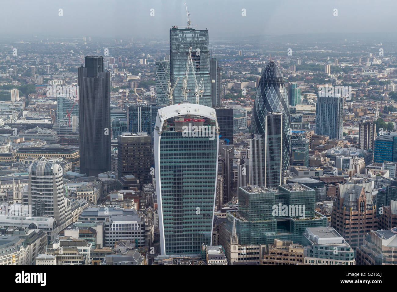 The City Of London from The Shard Viewing Platform ,London's highest viewing gallery offering superb views of - Stock Image