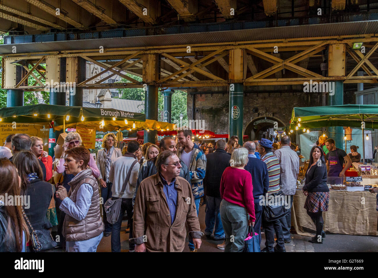 Crowds at  Borough Market ,Bermondsey, London .Borough Market  is London's most renowned food and drink market - Stock Image