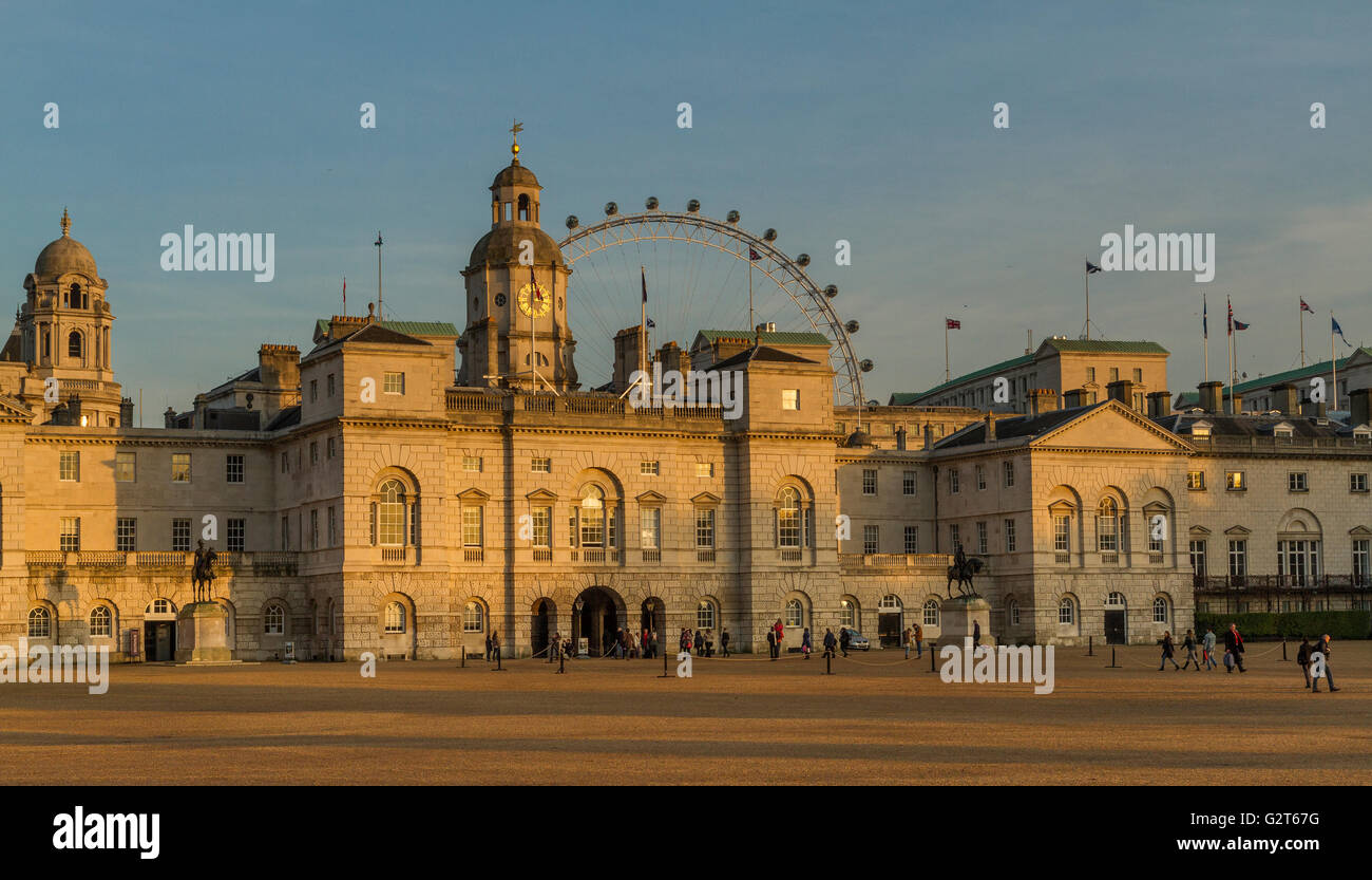 Horse Guards Parade in the late afternoon sunshine ,with The London Eye in the distance , Whitehall ,London, United - Stock Image