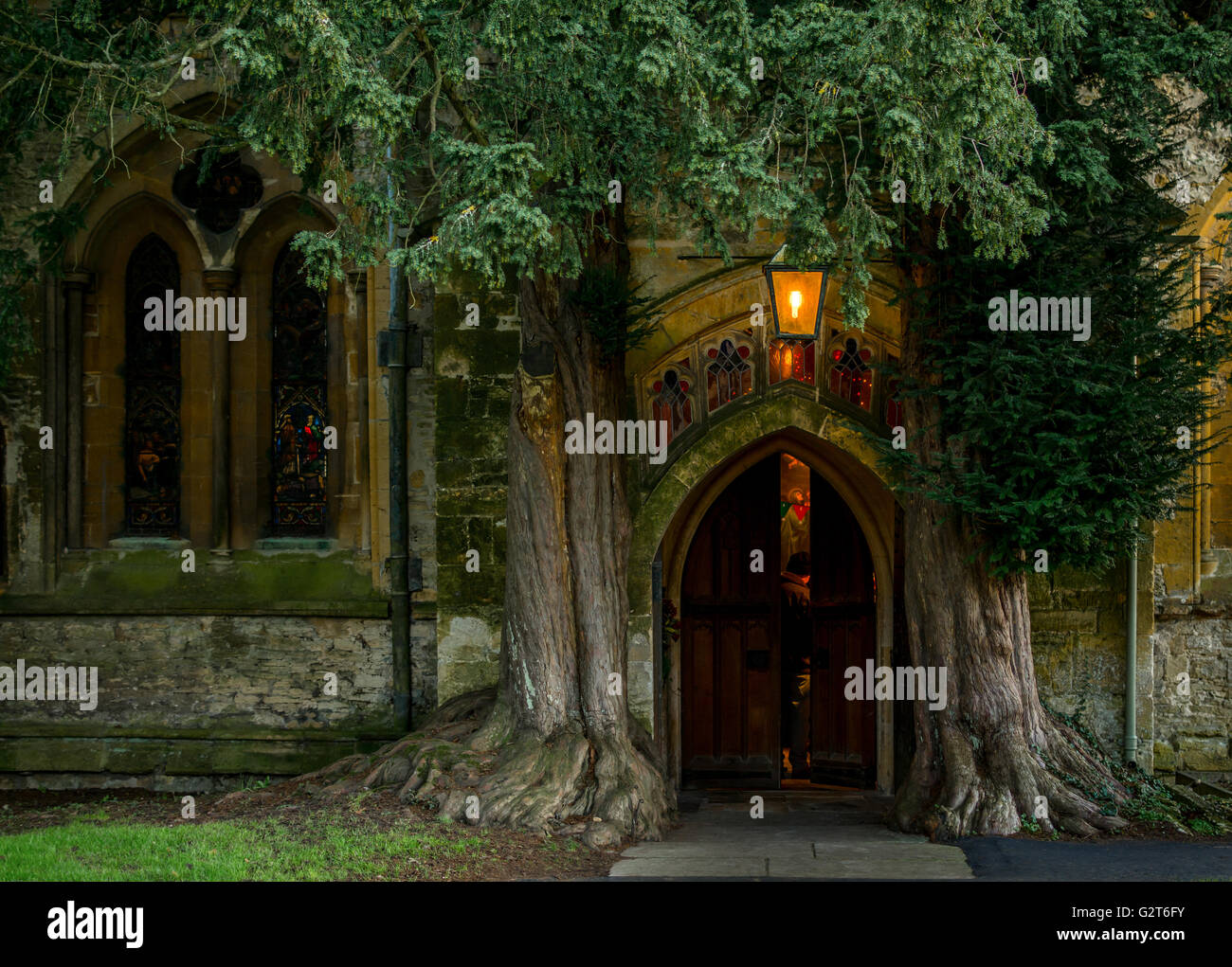 Doorway of St. Edward's Church, Stow-on the- Wold, Gloucestershire. - Stock Image