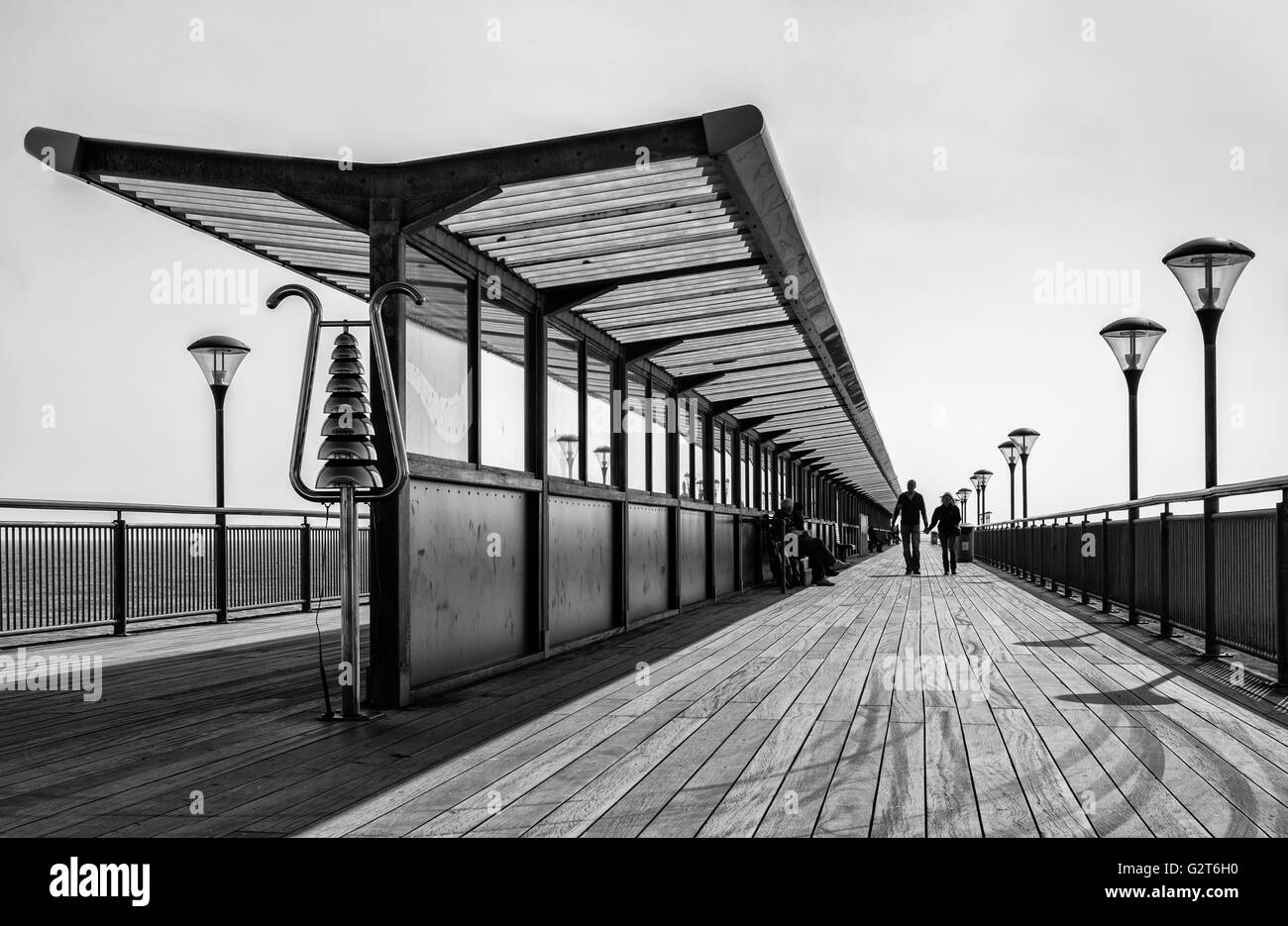 Boscombe Pier, black & White - Stock Image