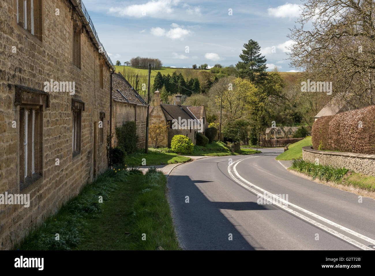 Typical English Village scene in the Cotswolds - Stock Image