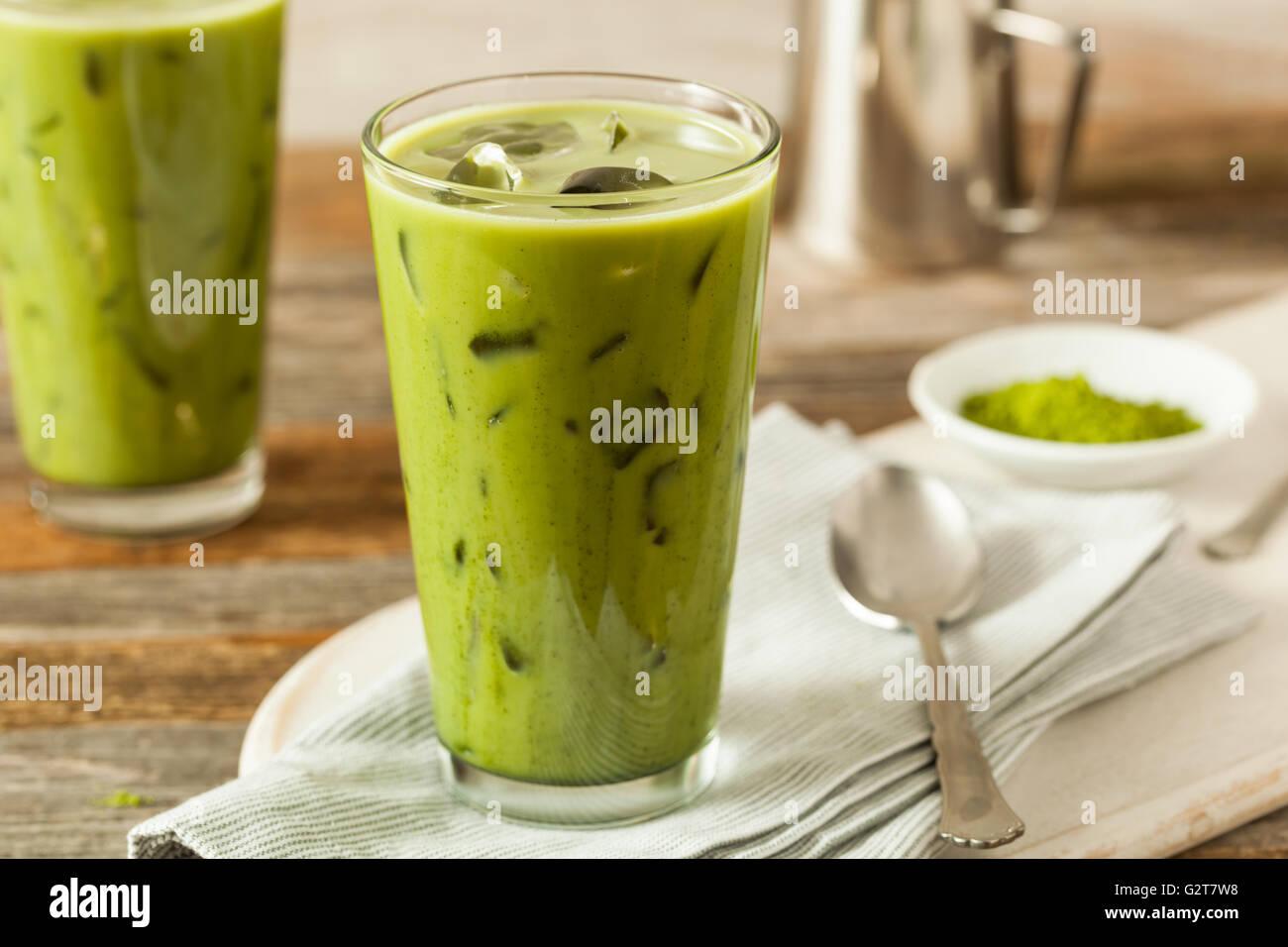 Homemade Iced Matcha Latte Tea with Milk - Stock Image