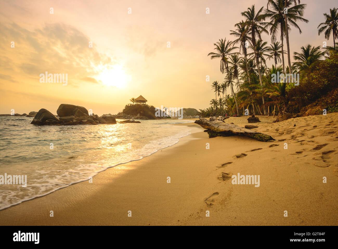 Sunrise at Cabo San Juan in Tayrona National Park - Stock Image