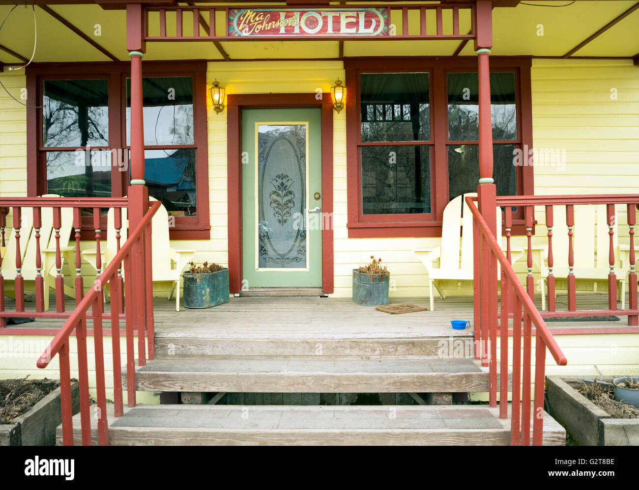 The unique Ma Johnson's Hotel in McCarthy Alaska USA - Stock Image