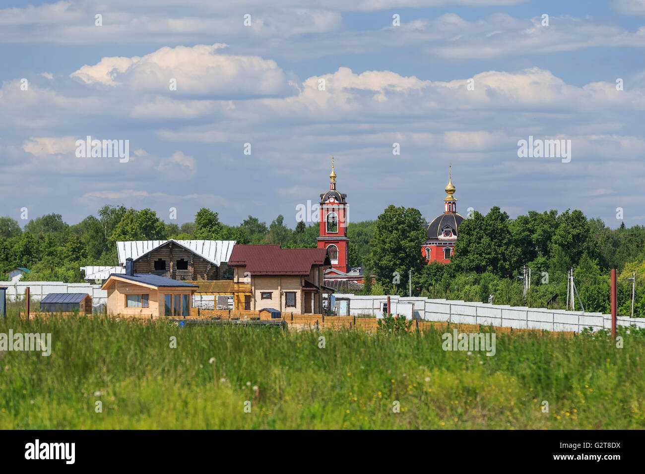 Boris and Gleb temple. Kurtnikovo, Russia - Stock Image