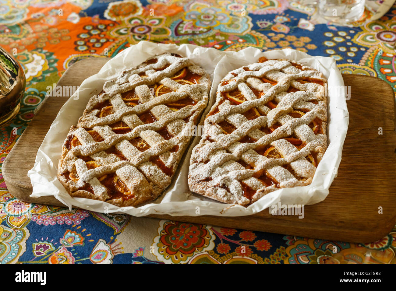 Two Gluten free orange tart - Stock Image