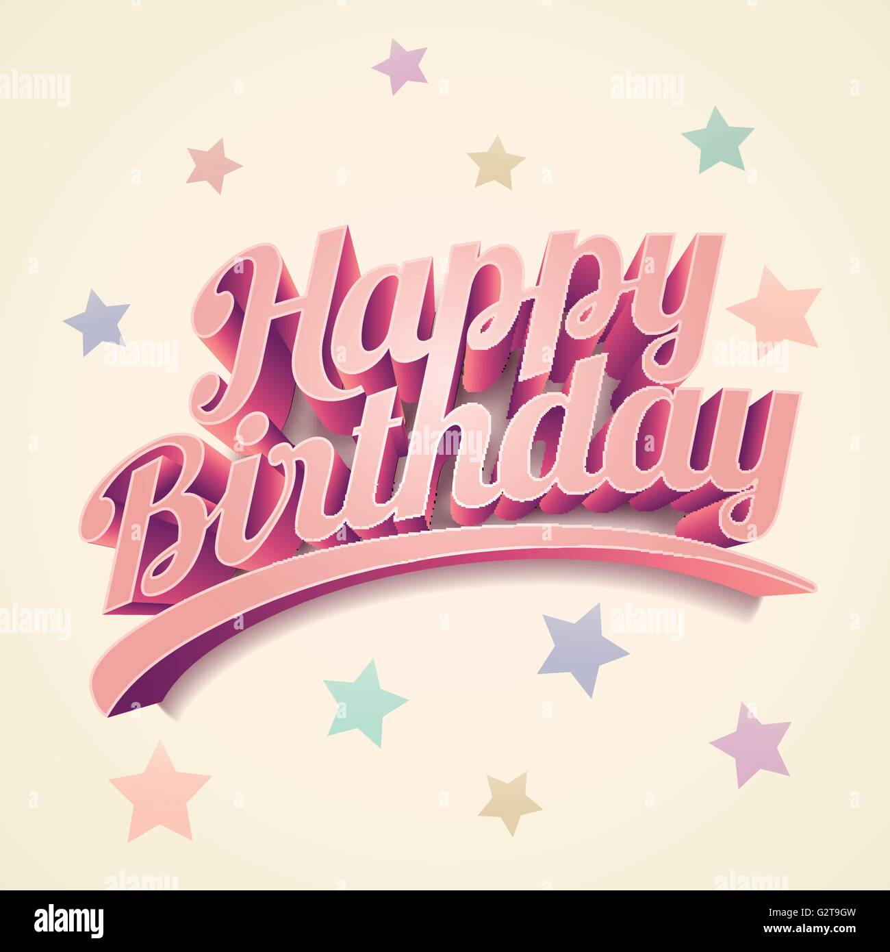 "Vector Retro 3d ""Happy Birthday"". Birthday Card Design"
