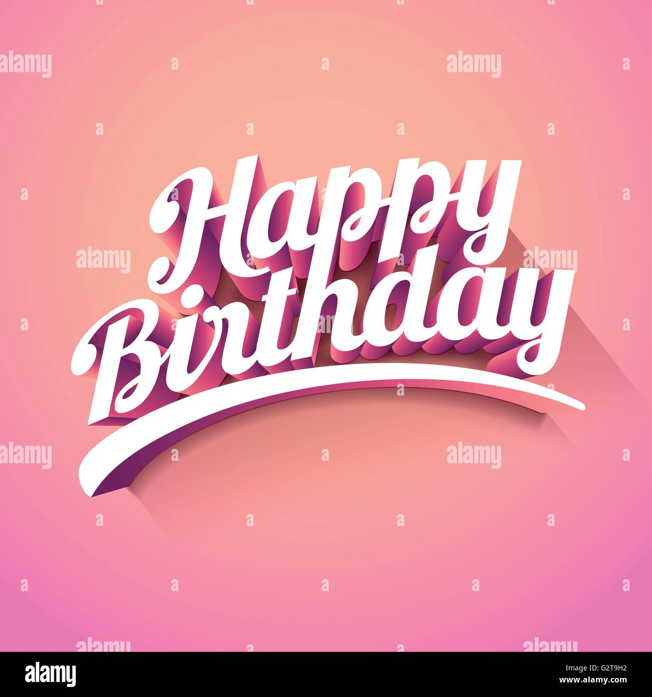Happy Birthday Vector Custom 3d Hand Lettering Typographic