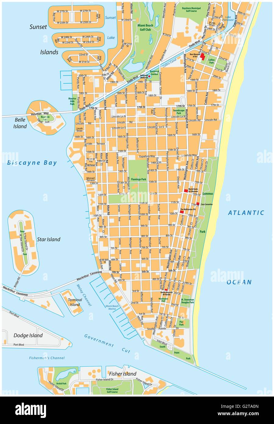 Miami Beach detailed vector street map with names florida Stock
