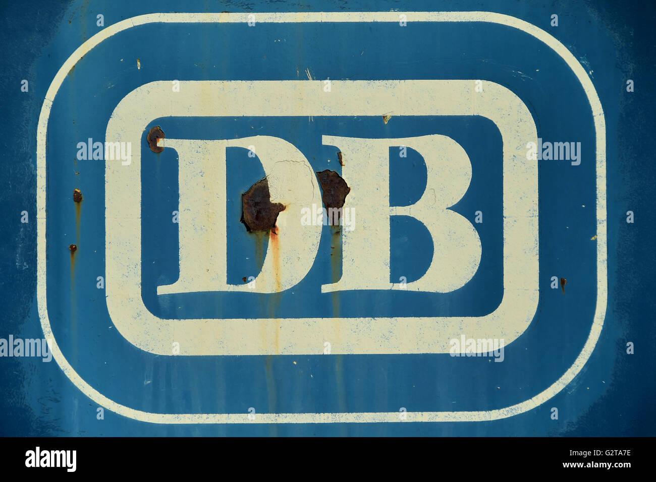 30.09.2015, Bochum, North Rhine-Westphalia, Germany - Logo of the German Railways at a Elektrolok. The German Federal Stock Photo