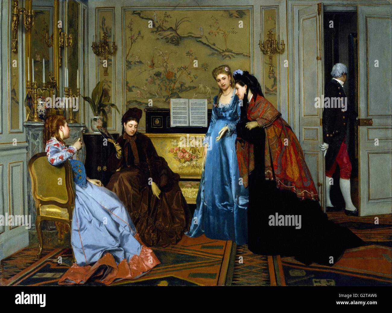 Attributed to Alfred Stevens - Elegant Figures in a Salon - - Stock Image