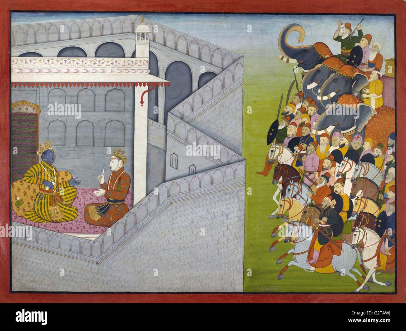 Attributed to Fattu - The Siege of Mathura by Jarasandha from the series Guler-Basholi - - Stock Image