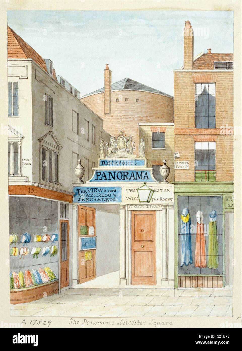 Drawing; watercolour - The Panorama, Leicester Square - - Stock Image