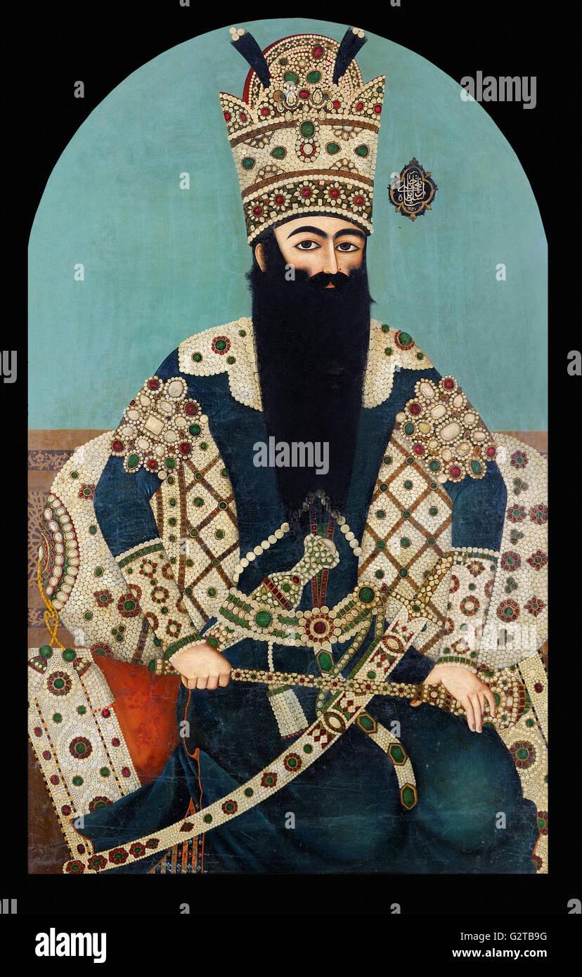 Mihr 'Ali, Iran, 1816 - Portrait of Fath 'Ali Shah - Stock Photo