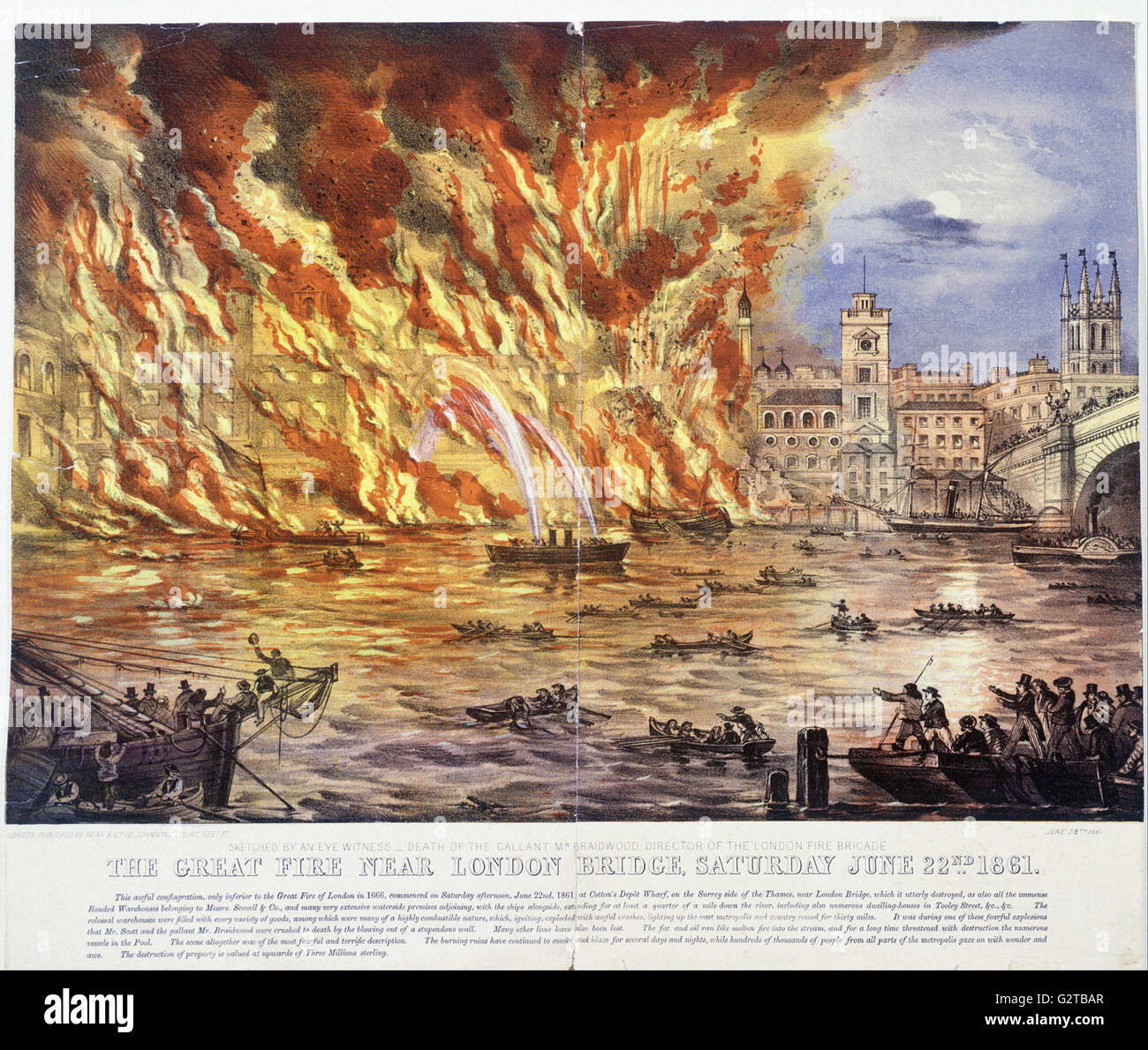 Read and Company - print; coloured lithograph - The Great Fire Near London Bridge, Saturday June 22nd 1861 - - Stock Image