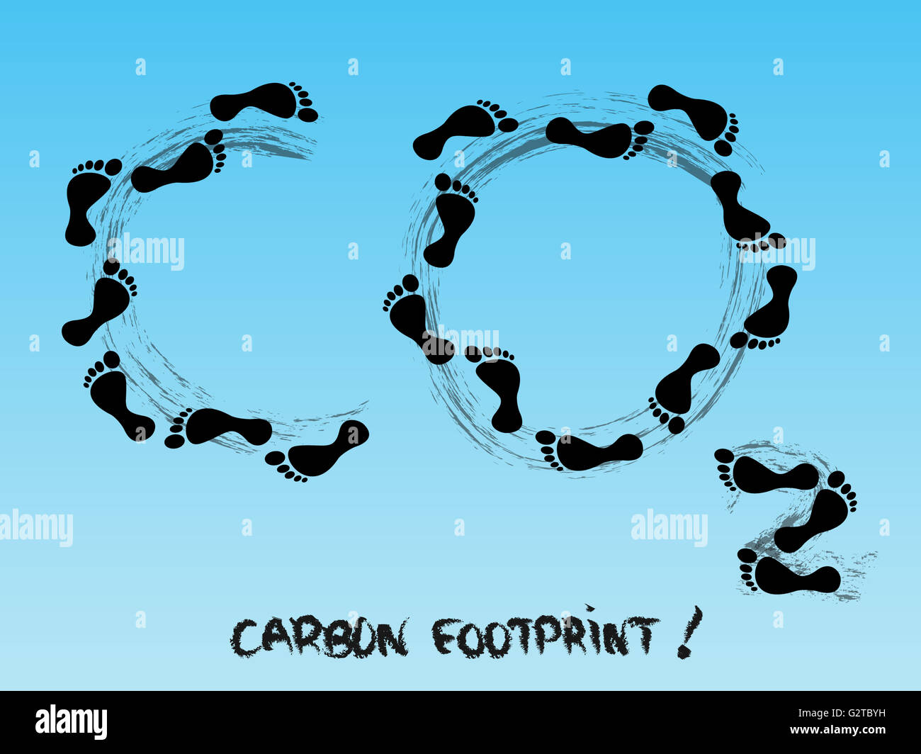 Carbon footprint symbol in the sky - Stock Image