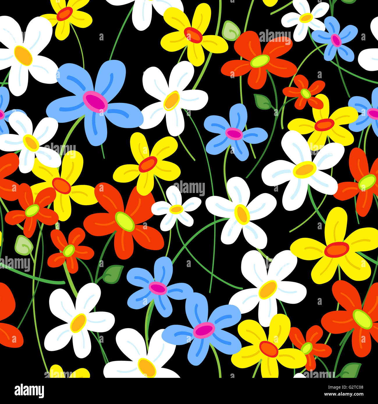 Seamless Cute Busy Daisy Flower Pattern Over Black Stock Photo