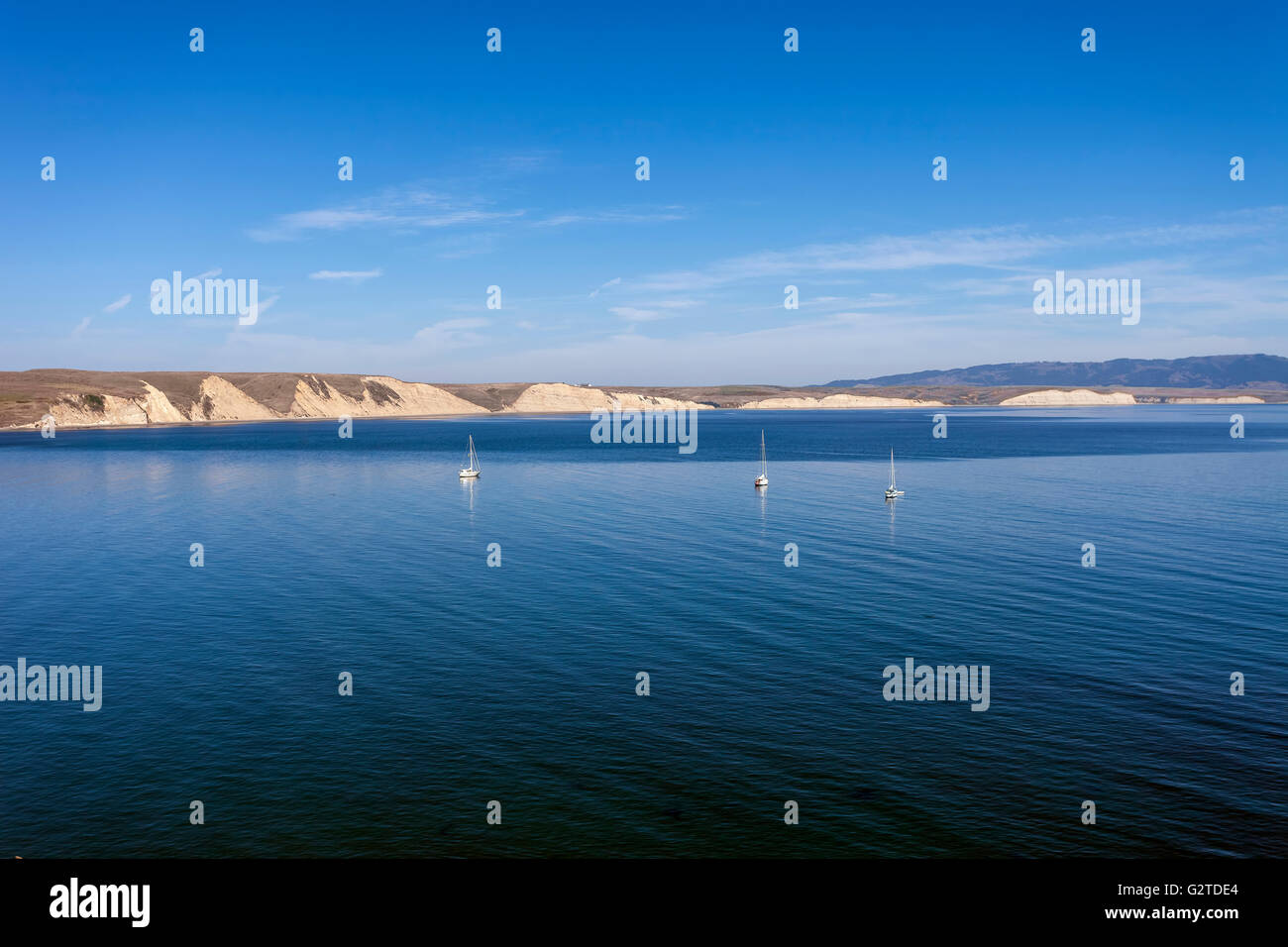 Boats anchored in Drakes Bay - Point Reyes, California - Stock Image