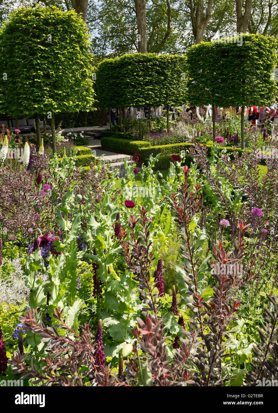 RHS Chelsea Flower Show 2016, Support the Husqvarna Garden, Silver-Gilt medal winner - Stock Image