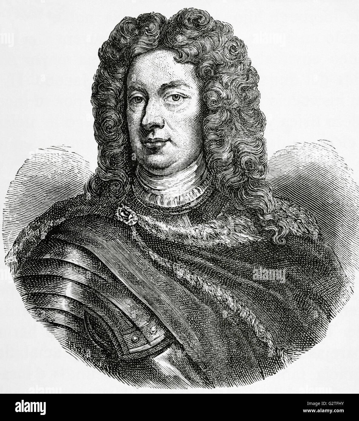 John Churchill, 1st Duke of Marlborough (1650-1722). English military and political. Portrait. Engraving in Universal - Stock Image