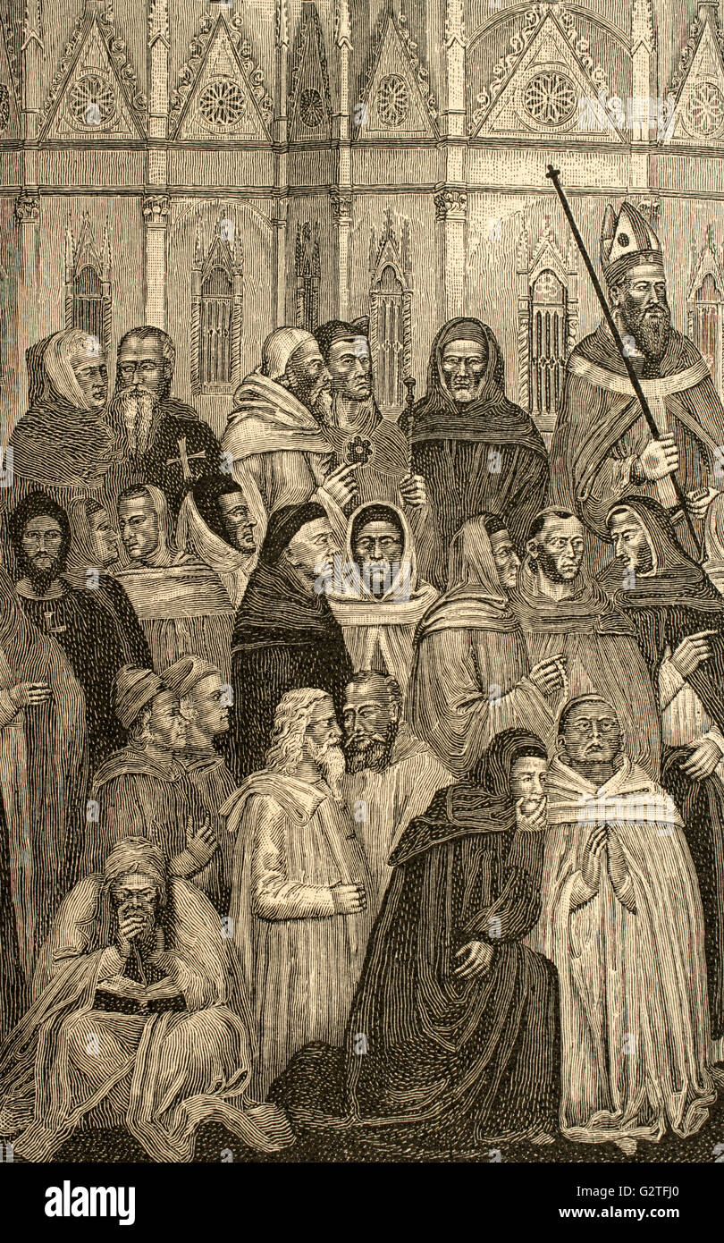 Militant Church and Triumphant Church. Detail of Devout Christians. Engraving after the fresco by Andrea Bonaiuto, - Stock Image