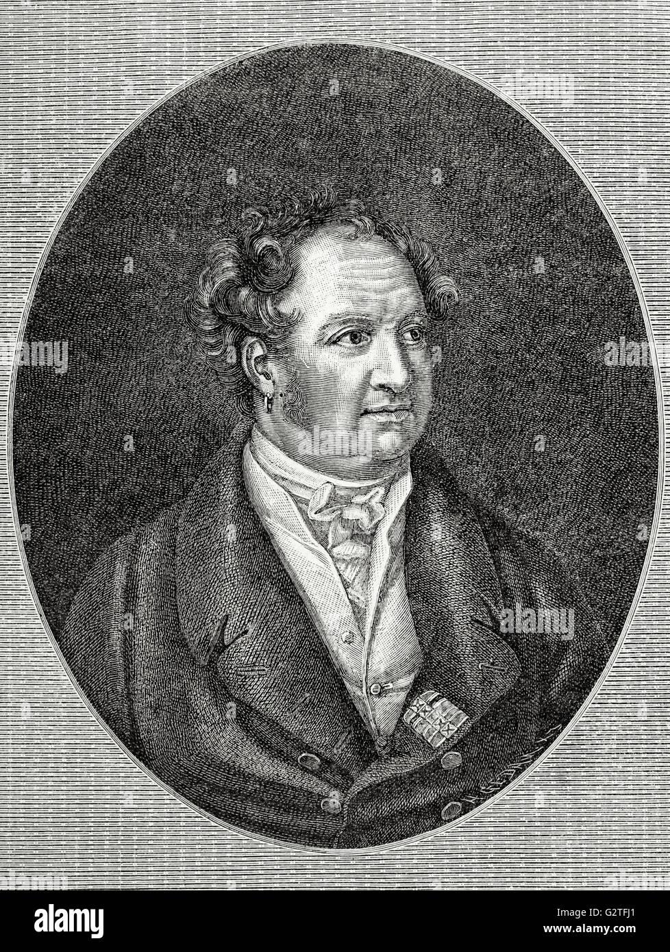 Maximilian I (1756-1825). King of Bavaria. Engraving in Universal History, 1885. - Stock Image