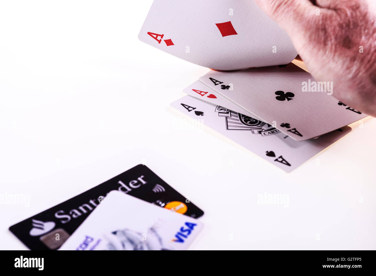 Gambling with credit cards. - Stock Image